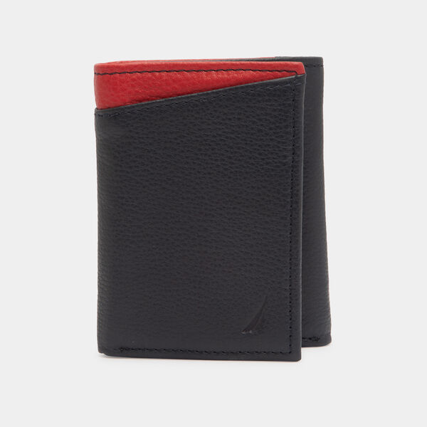 WILDER LEATHER TRIFOLD WALLET - Navy