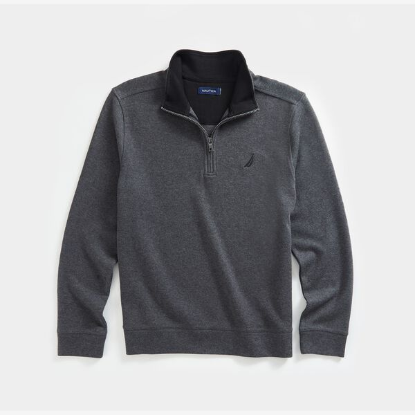 QUARTER-ZIP FRENCH RIBBED SWEATSHIRT - Charcoal Heather