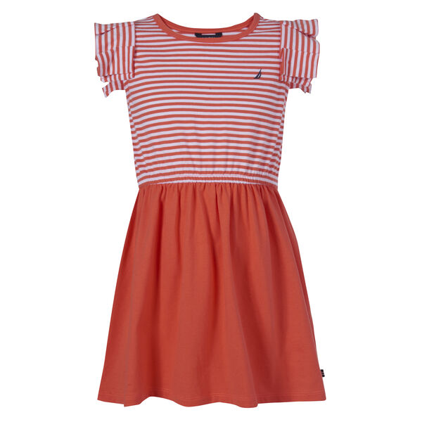 GIRLS' STRIPED RUFFLE SLEEVE DRESS (8-20) - Orange Sunset