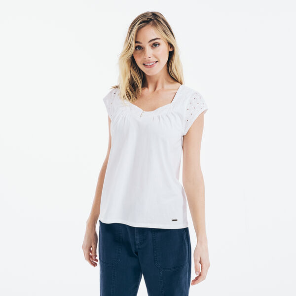 EYELET-TRIM KNIT TOP - Bright White