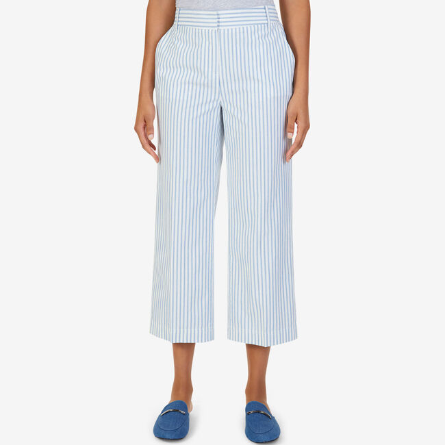 Belted Striped Gauchos,Marshmallow,large