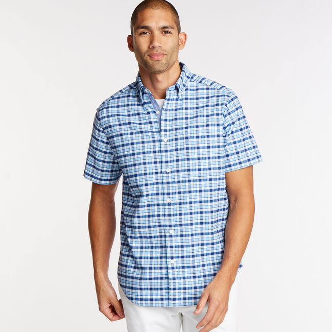 Short Sleeve Classic Fit Oxford Shirt in Plaid,Little Boy Blue,large