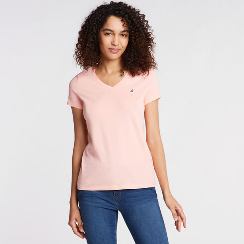 Solid V-Neck Short Sleeve T-Shirt - pink