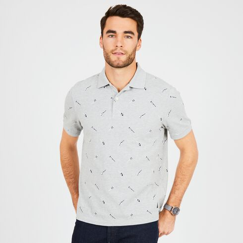 Oars Motif Classic Fit Deck Polo - Grey Heather