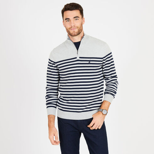 Big & Tall Mock-Neck Breton Stripe Sweater - Grey Heather