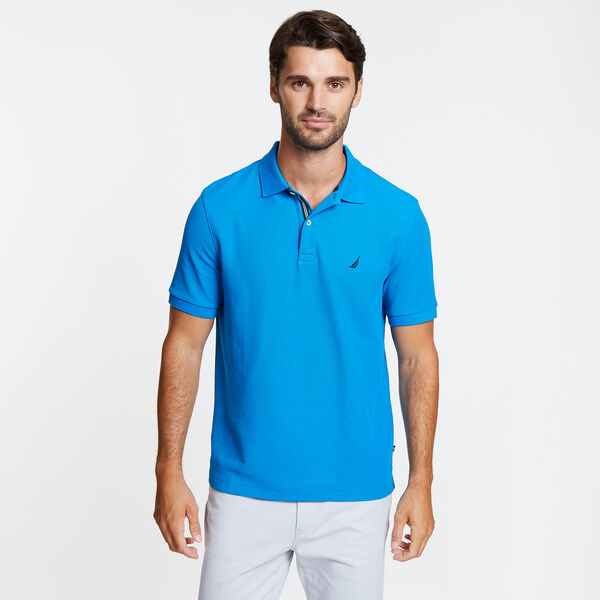 Classic Fit Solid Mesh Polo Shirt - Capri Blue