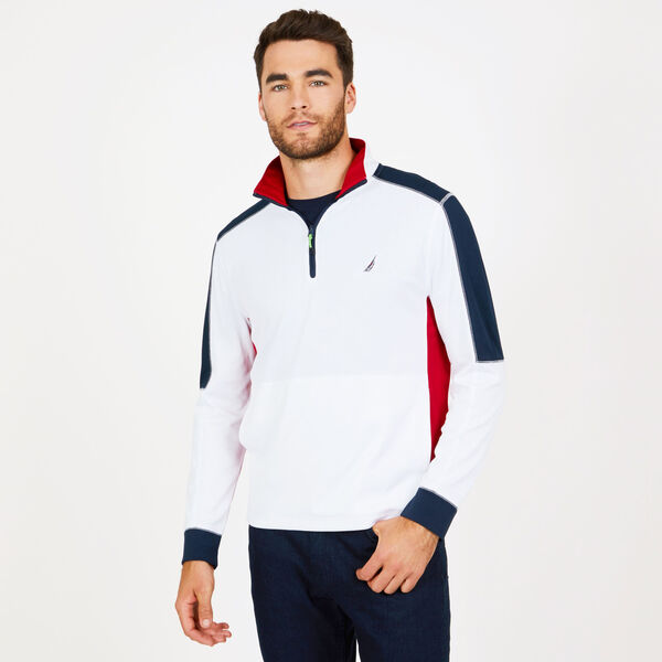 Long Sleeve Quarter-Zip Performance Polo - Bright White