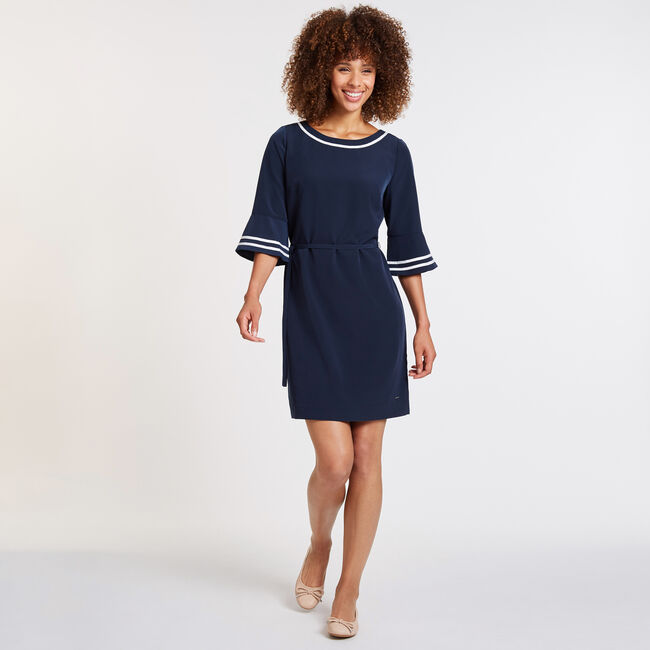 Grosgrain Tipped Dress with Belt,Deep Sea,large