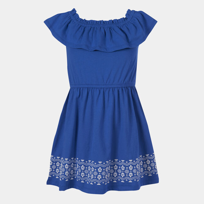 GIRLS' RUFFLED PRINT DRESS (8-20),Varsity Blue Wash,large