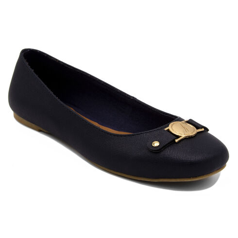 Pembina Faux Leather Ballet Flats in Navy - Navy