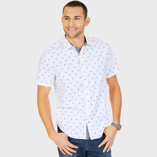 Big & Tall Shark Motif Classic Fit Button Down,Bright White,large