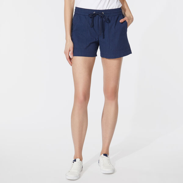 INK STRIPE ELASTIC WAIST SHORTS - Blue Depths