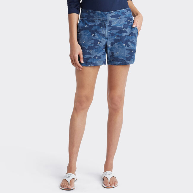 Camo Print Chambray Shorts,Stellar Blue Heather,large