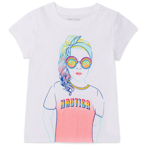 TODDLER GIRLS' SUNGLASSES GIRL GRAPHIC T-SHIRT (2T-4T) - Antique White Wash