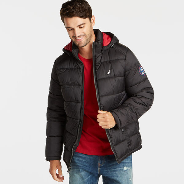 PUFFER JACKET WITH REMOVABLE HOOD - Black