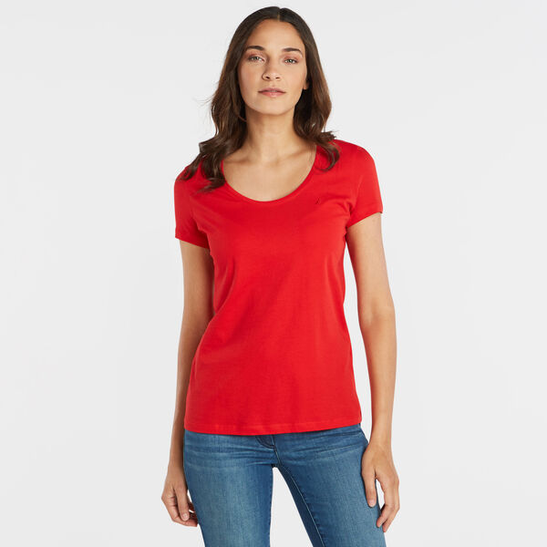 SOLID SCOOP-NECK T-SHIRT - Tomales Red