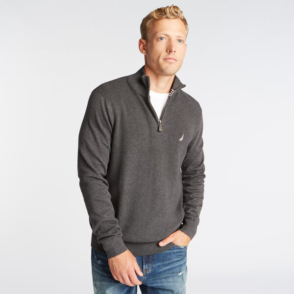 QUARTER ZIP RIBBED FRONT SWEATER - Charcoal Heather
