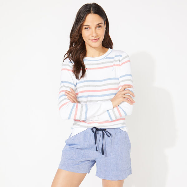 STRIPED KNIT SWEATER - Bright White