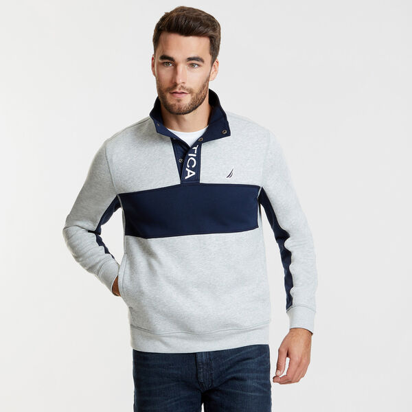 Long Sleeve Colorblock Half-Snap Classic Fit Polo - Grey Heather