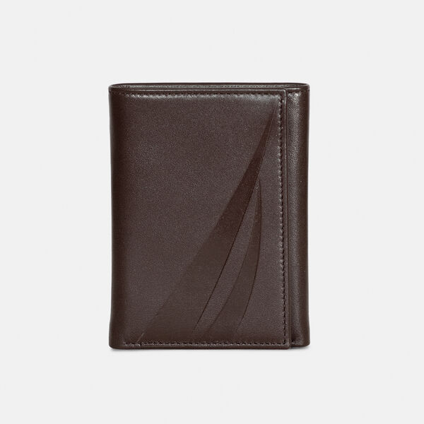 LEATHER TRIFOLD WALLET  - Brown Stone