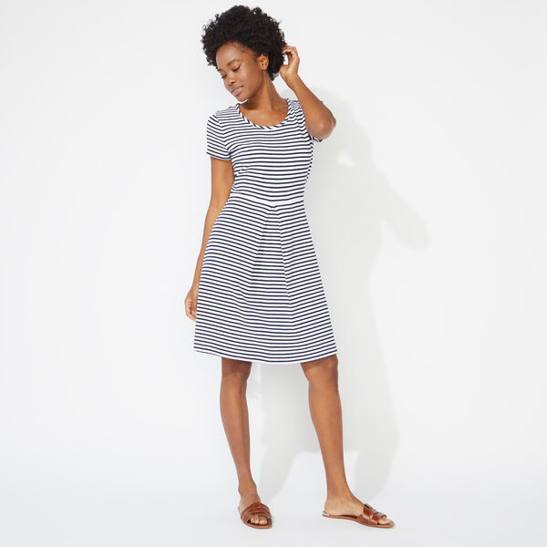 STRIPED KICK PLEAT DRESS - Bright White
