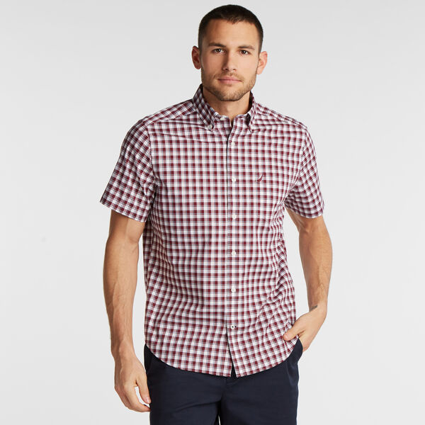 CLASSIC FIT SHORT SLEEVE WRINKLE-RESISTANT SHIRT IN PLAID - Zinfandel