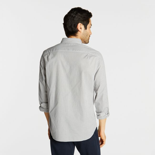 CLASSIC FIT POPLIN SHIRT IN GINGHAM,Platinum Grey,large
