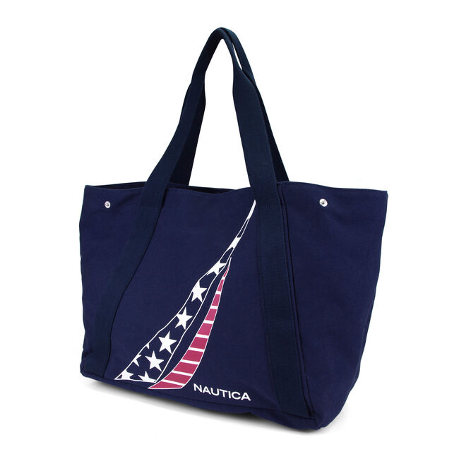 Americana J-Class Canvas Tote,Navy,large