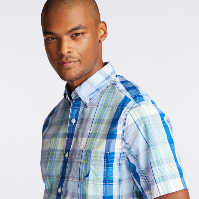 CLASSIC FIT SHORT SLEEVE SHIRT IN PASTEL PLAID,Alaskan Blue,large