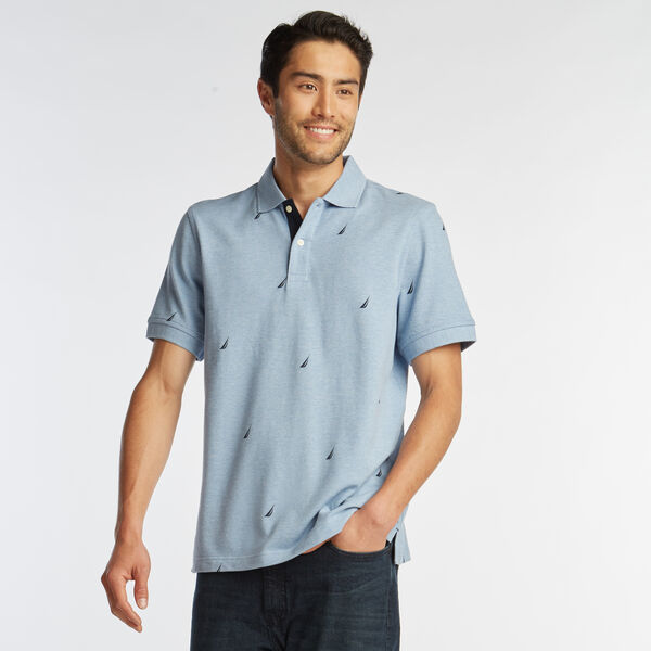 CLASSIC FIT J-CLASS PRINT MESH POLO - Charcoal Blue Heather