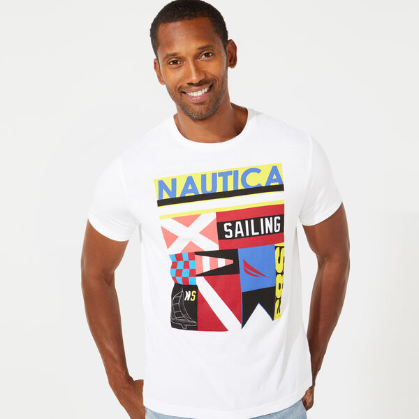 SIGNAL FLAG COLLAGE GRAPHIC TEE - Bright White