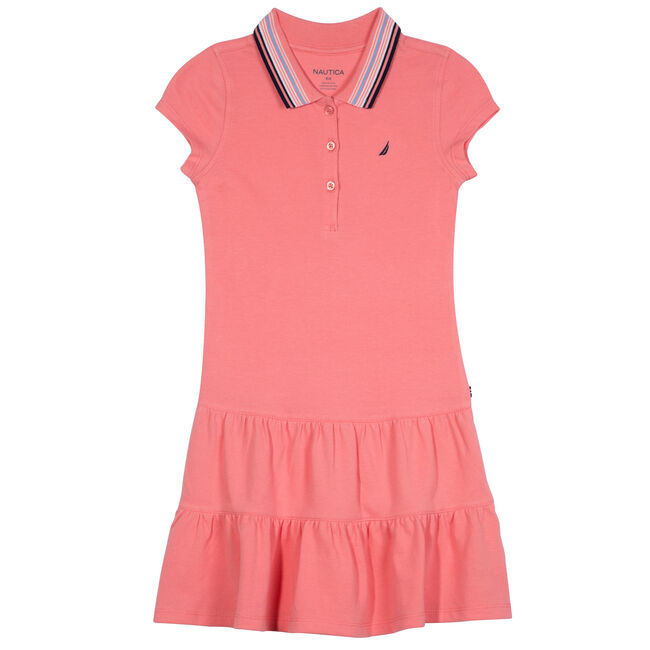 Toddler Girls' Polo Dress with Ruffled Skirt (2T-4T),Soft Grey Wash,large