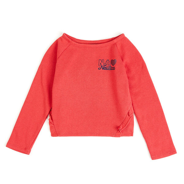 Girls' French Terry Logo Sweatshirt - Glory Red