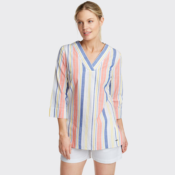 Classic Fit Tunic in Multicolor Stripe - Bright White