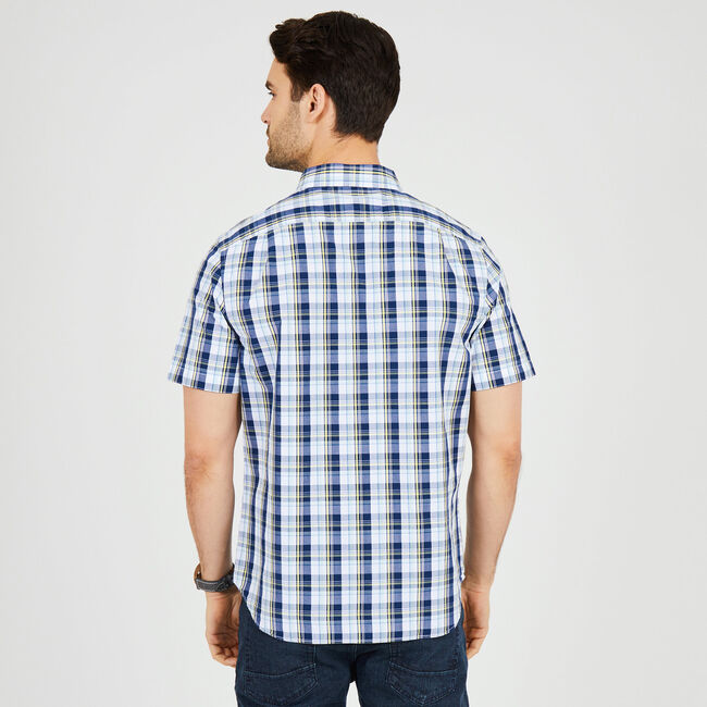 Plaid Classic Fit Short Sleeve Shirt,Monaco Blue,large