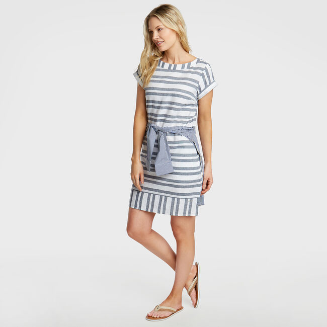 Short Sleeve Linen Blend Shift Dress in Stripe,Bright White,large