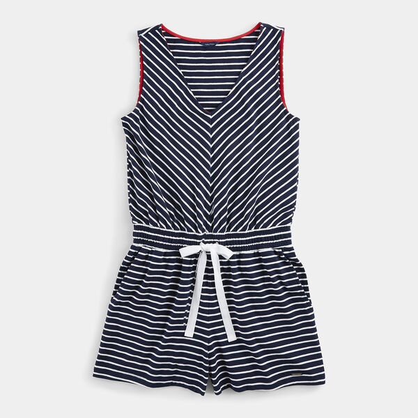 STRIPE KNIT ROMPER - Stellar Blue Heather
