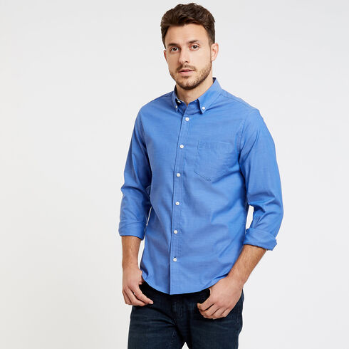Long Sleeve Slim Fit Solid Wrinkle-Resistant Shirt - French Blue