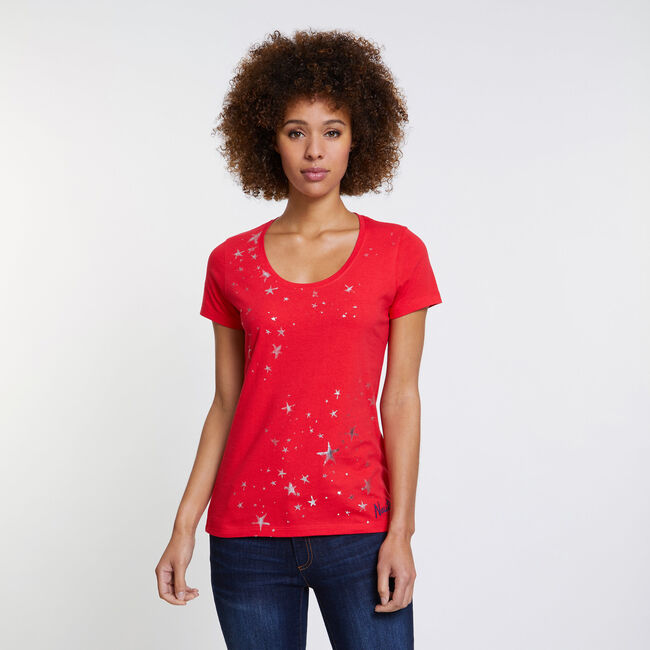 Foil Star Scoop-Neck T-Shirt,Desert Rose,large