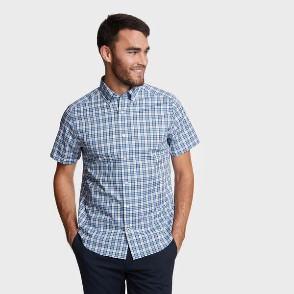 Short Sleeve Plaid Wrinkle-Resistant Classic Fit Shirt - Riviera Blue
