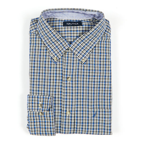 Big & Tall Long Sleeve Tartan Button-Down Shirt - French Blue