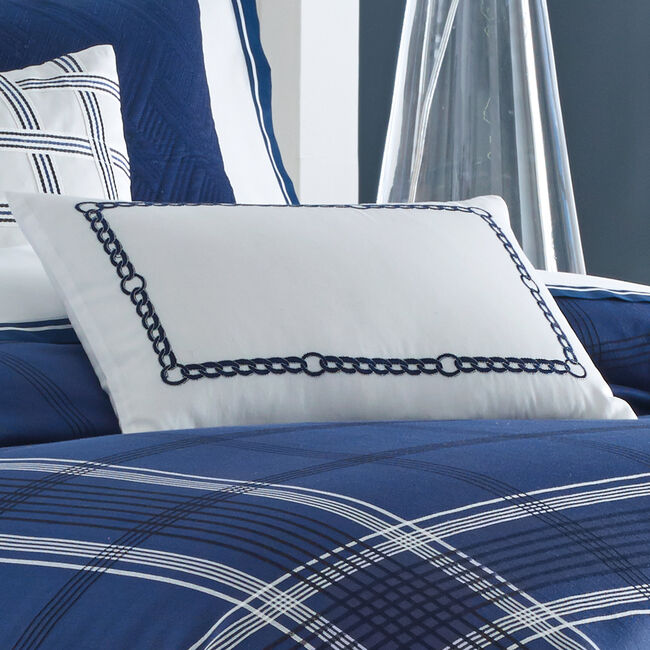 Haverdale Navy Euro Pillow Sham,Bright White,large