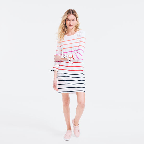 STRIPED TIE-SLEEVE DRESS - Bright White