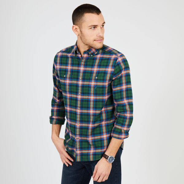 Long Sleeve Classic Fit Flannel Plaid Shirt - Forest