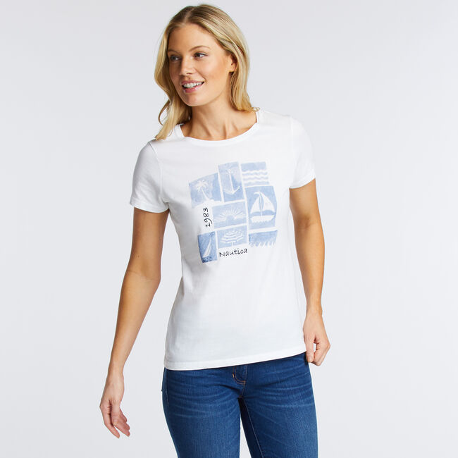 Collage Scoop Tee,Bright White,large