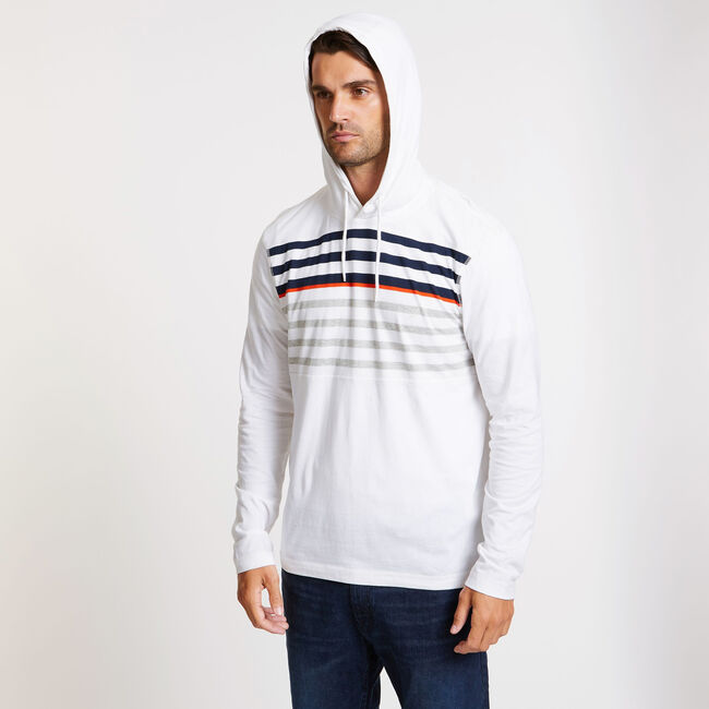 Beach-to-Street Chest Stripe Hoodie,Bright White,large