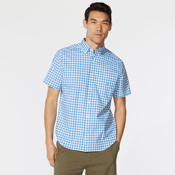 BIG & TALL PLAID SHORT SLEEVE SHIRT - Clear Sky Blue