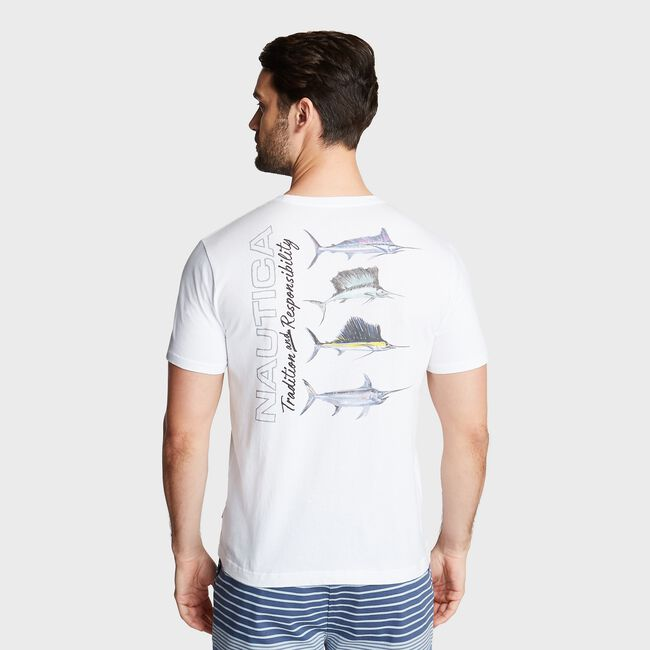 MARLIN FISHING GRAPHIC T-SHIRT,Bright White,large