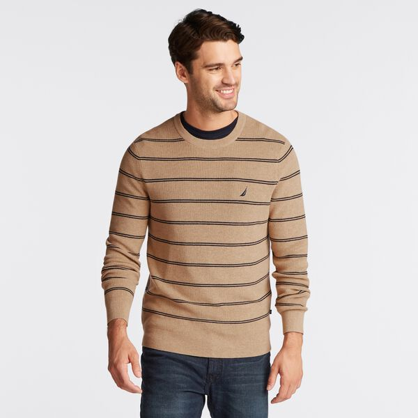 NAVTECH STRIPED CREWNECK SWEATER - Camel Heather