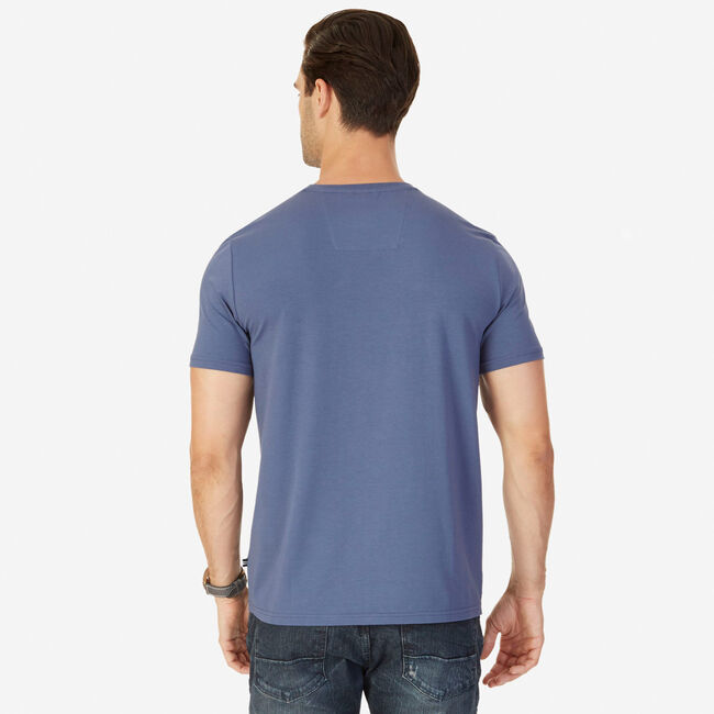 Short Sleeve Tee with Chest Pocket,Distressed Blue Wash,large